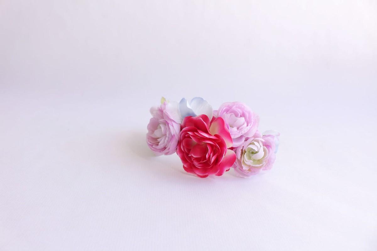 Diadema flores tela colores...