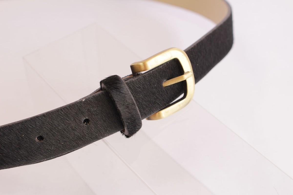 """Cinturón piel """"pelo"""" negro"""